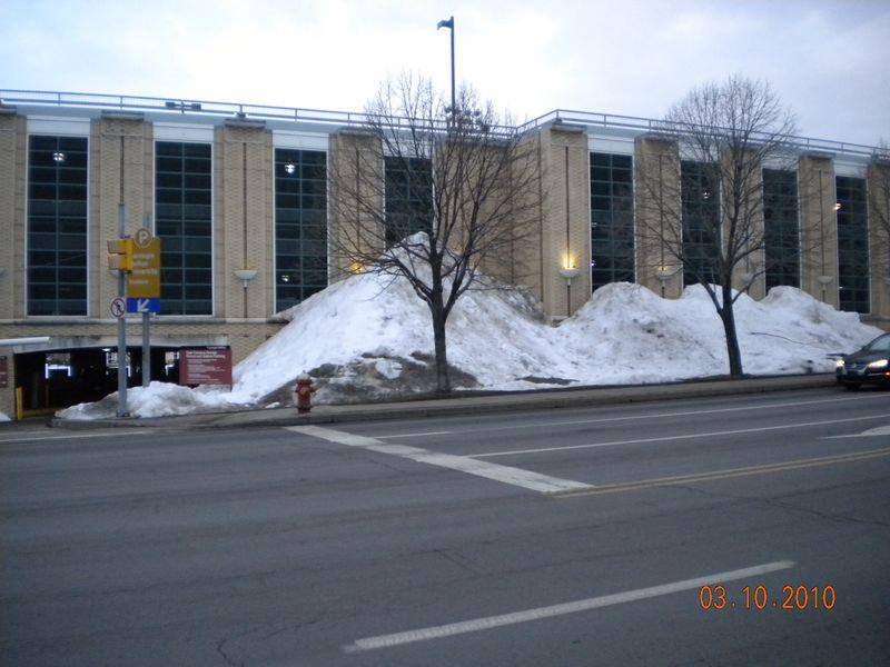 Snow at CMU parking garage 3.10.10